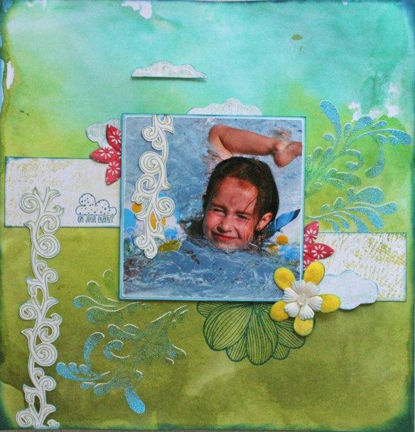 """Fond de page avec encre en spray vert orchidée, vert bambou et vert safari. Chutes de la collection """"Crépuscule""""."""